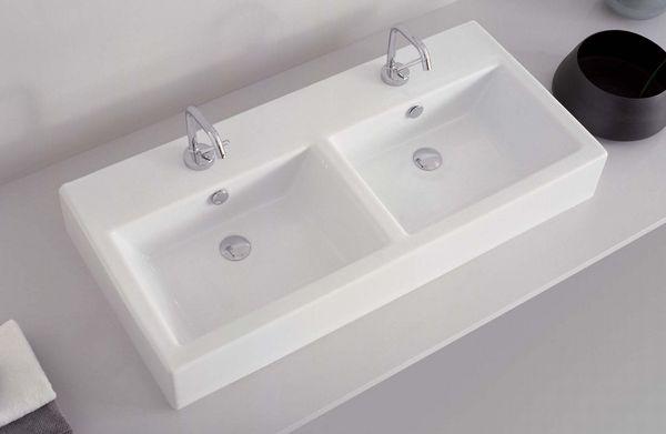 Loft double basin lo53 wash basin countertop - Double wash basin bathroom ...